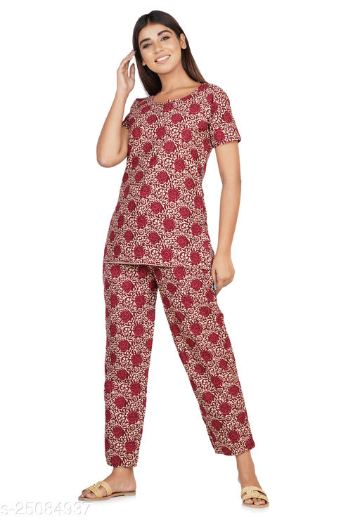 Cotton Women's Night-suite With High Quality Fabric and Stitching. (Maroon)