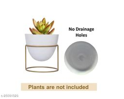 GreyFOX || High Quality Metal Flower Pot Planter for Living Room Bedroom Indoor-Outdoor Garden Tabletop Planter Pot with Metal Stand (White Color)