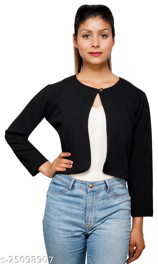 Women Black Solid Button crop shrug