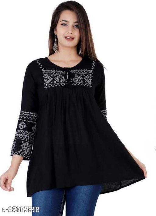 Trendy Rayon Womens Embroidered Top