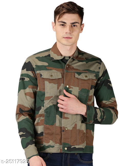 Raa Jeans Men's Multi-Colored Twill Cotton Camouflage Jacket