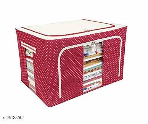 Sahebzaade Wardrobe Organizer, Storage Boxes for Clothes with Zip - 66 Litre, Pack of 1 Polka Dots Red