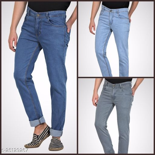 Multicolor, Men Blue Skinny Fit Mid-Rise Clean Look Stretchable Jeans (Pack of 3)