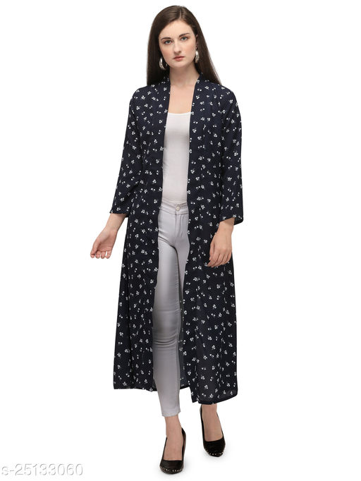 Serein Women's Shrug (Floral Printed Georgette Long Jacket with Full Sleeve) (Blue)