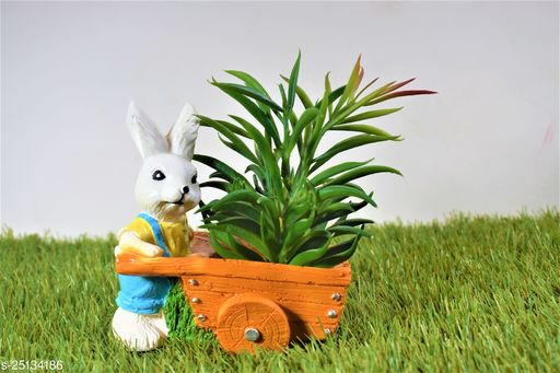 kart rabbit pot planter with gift pack of beautiful flower seeds (without plant)