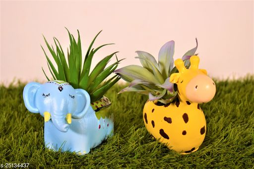 combo of elephant&giraffe pot planter with gift pack of beautiful flower seeds (without plant)