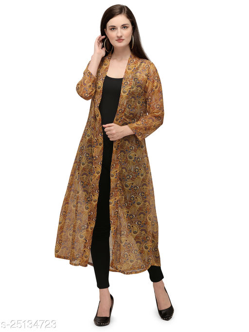 Serein Women's Shrug (Floral Printed Georgette Long Jacket with Full Sleeve) (Yellow)