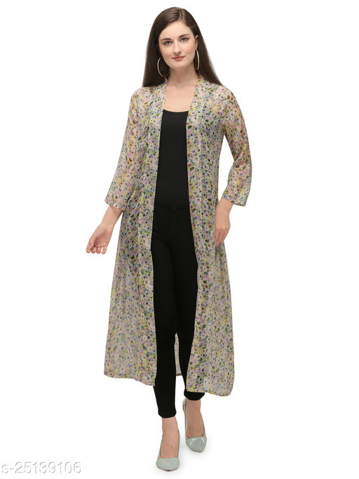 Serein Women's Shrug (Floral Printed Georgette Long Jacket with Full Sleeve) (White)