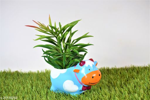 blue cow pot planter with gift pack of beautiful flower seeds (without plant)