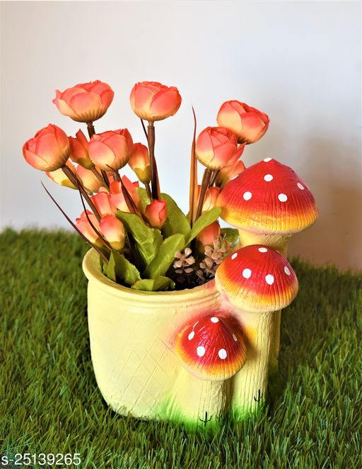 mushroom pot planter with gift pack of beautiful flower seeds (without plant)