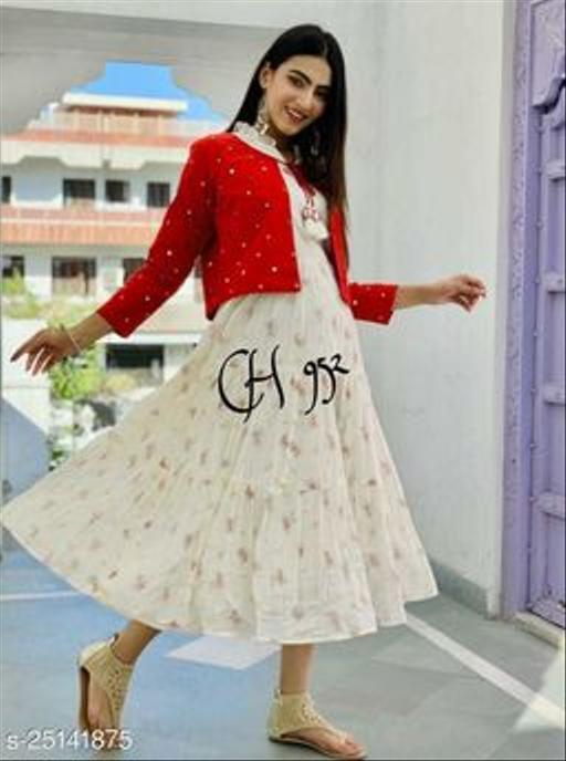 Designer white printed kurti with Emrodairy Jacket