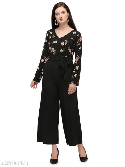 Serein Women's Jumpsuit (Black Floral & Solid Crepe Half Half Jumpsuit with V-Neck) (Black)