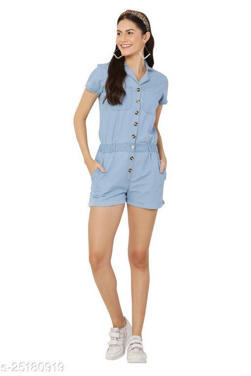 Avyanna Stylish Women's Blue Color Solid Denim Half Jumpsuit