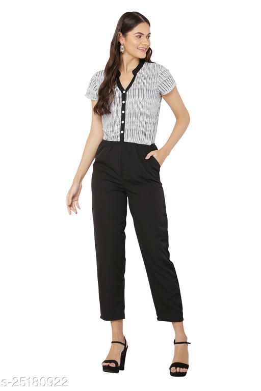 Avyanna Stylish Women's White & Black Striped Printed Jumpsuit