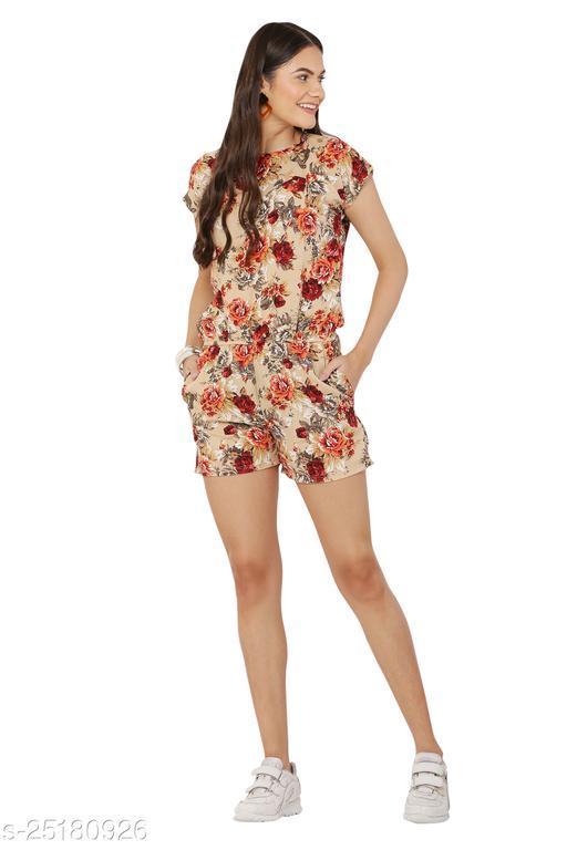 Avyanna Stylish Women's Beige Color Floral Print Crepe Half Jumpsuit