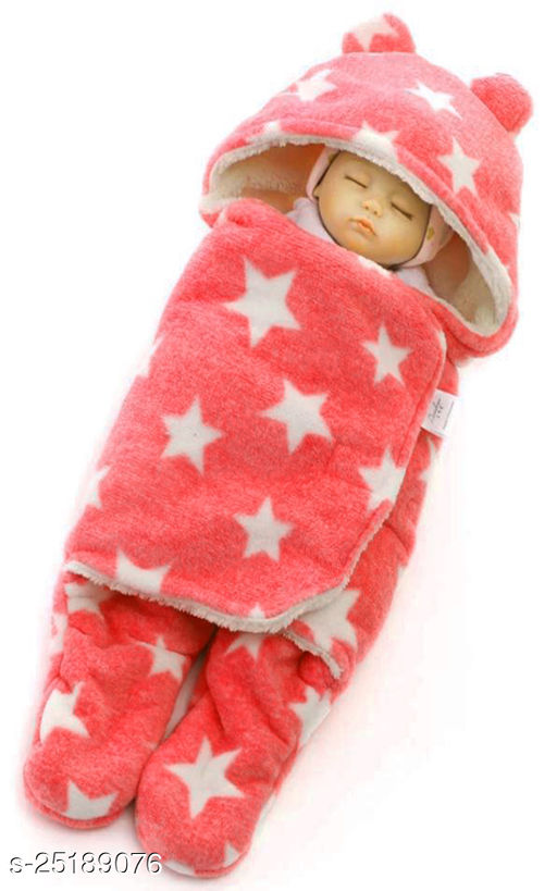 FIRST TREND Solid Crib Hooded Baby Blanket