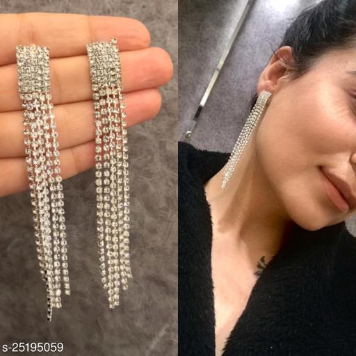 Rhinestone Tassel Dangle Earring - Silver