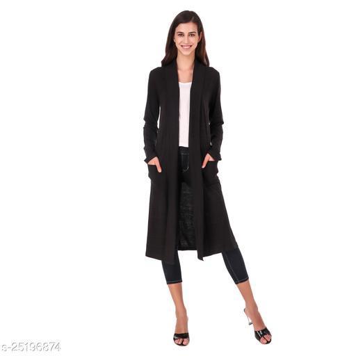 Trend & Thread Women's Black Casual Cotton Long Shrug Sweater