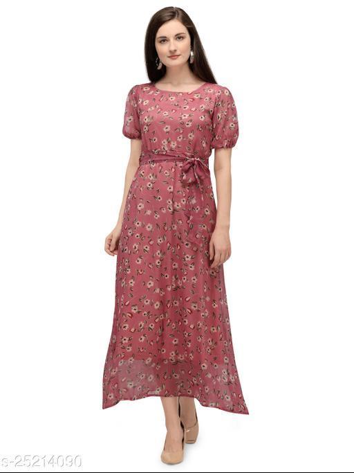 Serein Women's Maxi Dress (Light Pink Floral Printed Chiffon Dress with Short Puff Sleeve)
