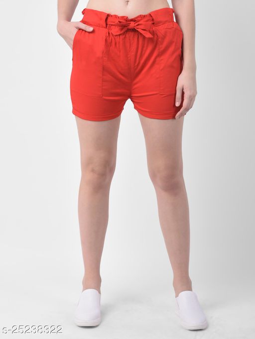 Women Red Stretchable Rayon Shorts