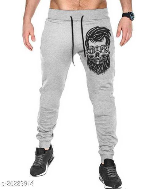 Printed Men Grey Track Pants