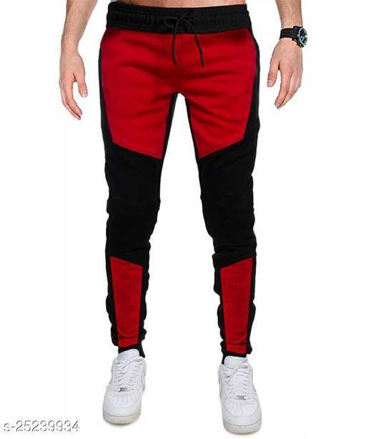Color Block Men Red, Black Track Pants