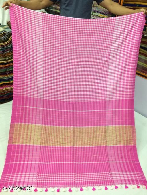 Sarees Fashionable Pure Cotton Women's Saree  *Fabric* Saree - Pure Cotton, Blouse - Pure Cotton  *Size* Saree Length - 5.5 Mtr, Blouse - 0.8 Mtr  *Color* Pink  *Work* Hand Woven Work  *Sizes Available* Free Size *    Catalog Name: Divine Fashionable Pure Cotton Women's Sarees Vol 1 CatalogID_339807 C74-SC1004 Code: 3911-2524591-