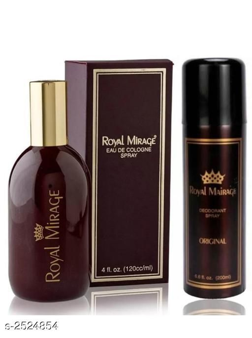 Men's Grooming Royal Mirage Eau De Perfume & Body Deodorant Spray(Pack of 2) Product Name:  Royal Mirage Eau De Perfume & Body Deodorant Spray Brand Name: Royal Mirage Product Type: Deodorant & Perfume Capacity: Deodorant- 200 ml & Perfume- 120 ml Package Contains: It Has 1 Pack of Body Deodorant Spray & 1 Pack of  Perfume Country of Origin: India Sizes Available: Free Size *Proof of Safe Delivery! Click to know on Safety Standards of Delivery Partners- https://ltl.sh/y_nZrAV3  Catalog Rating: ★3.7 (183)  Catalog Name: Royal Mirage Perfume & Body Deodorant Sprays Vol 1 CatalogID_339834 C51-SC1662 Code: 983-2524854-