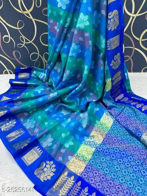 Trendy Banarasi Muslin  Alfi Silk Saree Fancy With Blouse