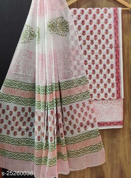 Jaipuri Block Print Cotton Suit Material With Cotton Dupatta