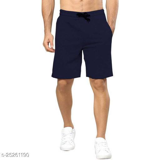 Solid Men Dark Blue Regular Shorts