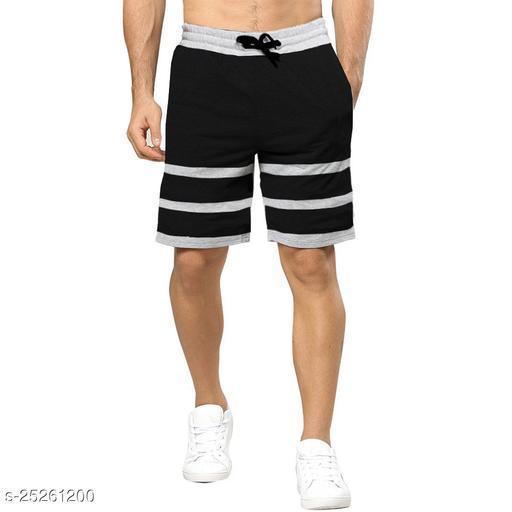 Striped Men Black, Grey Regular Shorts