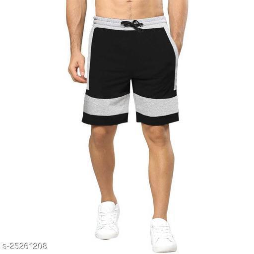 Color Block Men Black, Grey Regular Shorts