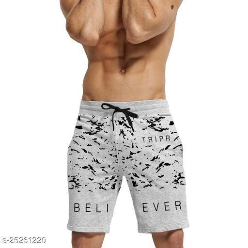 Printed Men Grey Regular Shorts