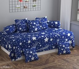 Apala® Beautiful 144 TC 100 % Polycotton Elegant White Star Design Diwan Set with 8 Pieces, One Single Bed Sheet with 5 Cushions Covers and 2 Bolster Covers (Navy)
