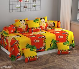 Apala® Beautiful 144 TC 100 % Polycotton Elegant Kids Bhim Design Diwan Set with 8 Pieces, One Single Bed Sheet with 5 Cushions Covers and 2 Bolster Covers (Yellow)