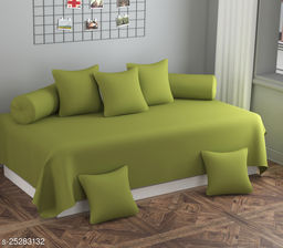Apala® Beautiful 144 TC 100 % Polycotton Solid Design Diwan Set with 8 Pieces, One Single Bed Sheet with 5 Cushions Covers and 2 Bolster Covers (Green)