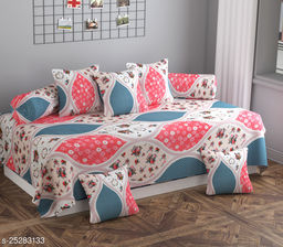 Apala® Beautiful 260 TC 100 % Polycotton Elegant Pink Flower Design Diwan Set with 8 Pieces, One Single Bed Sheet with 5 Cushions Covers and 2 Bolster Covers (Pink)