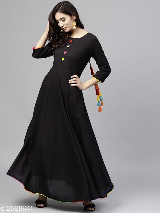 Women's Solid Rayon Long Anarkali Kurti