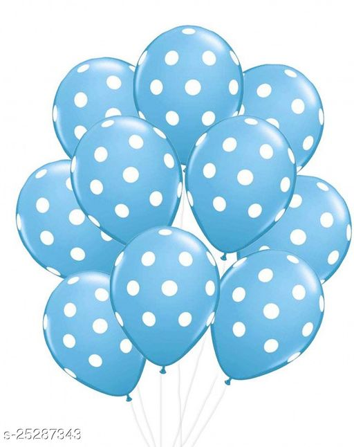 Polka Dot Spotty Multicolor Balloons For Birthday Toy Balloon For Party Decoration Perfect For Any Kind Of Decorations Pack Of 10 Light Blue Colour (Party Monkey)