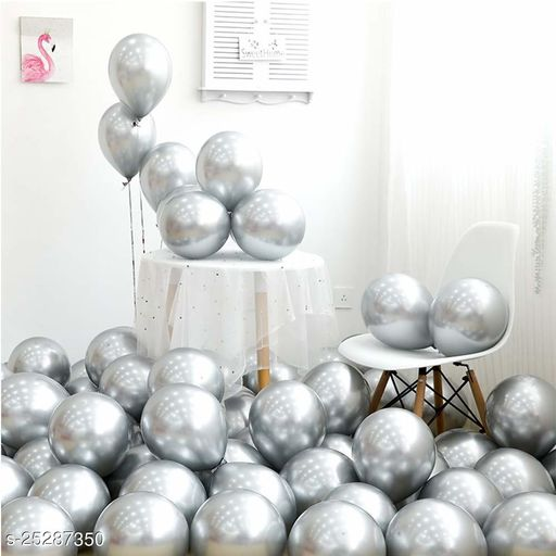 Metallic Shiny Finish Balloons For Birthday Anniversary Baby Shower Welcome Baby Weddings Engagement Party Celebrations Theme Party Silver Pack Of 25 (Party Monkey)