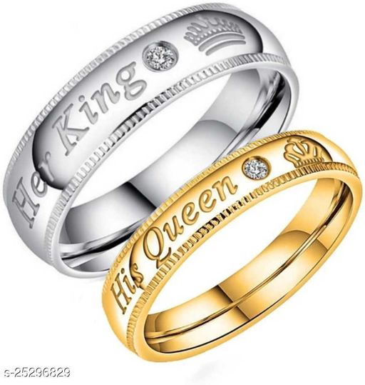 Valentine's Special Adjustable Silver and Gold Her King And His Queen Crown Adjustable 925 Sterling Silver Plated Crystal Proposal Brass Diamond Sterling Silver Plated Ring