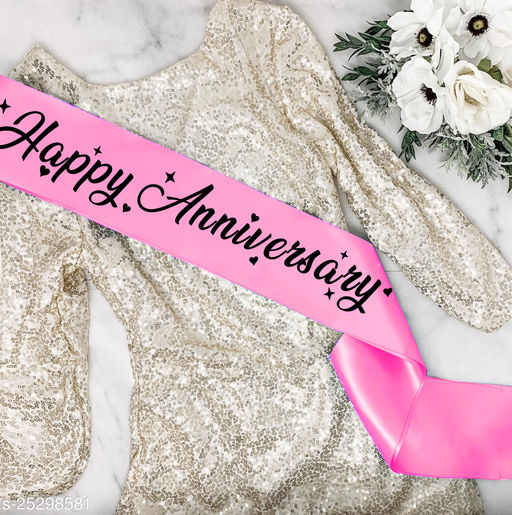 "Style Secrets 3.7"" Shimmering Ballerina Pink Satin Happy Anniversary Sash for Women"