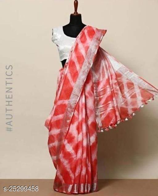 Stylish Woman's Linen Slub Saree With Blouse