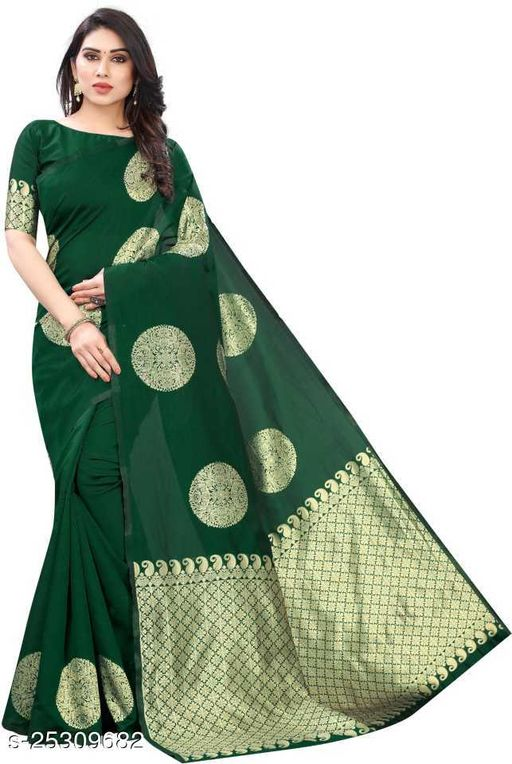Womens jecquard soft lichi silk saree with blouse piece