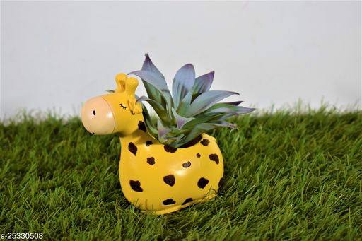 giraffe pot planter with gift pack of beautiful flower seeds (without plant)