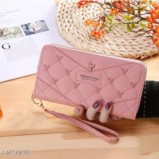 Trendy Women's Pink Leather Clutch