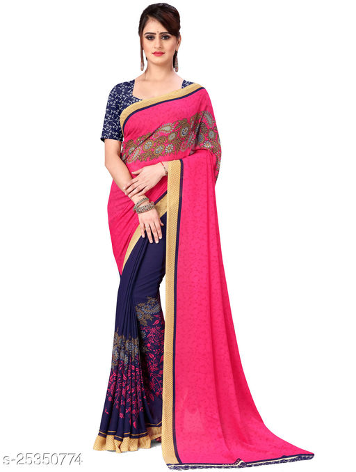 Pink,Half and Half, Printed Georgette Saree with blouse piece