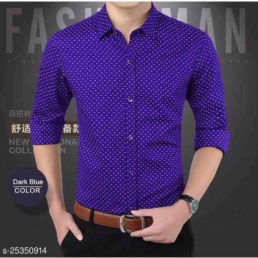 Nikline Royal Blue Dotted Shirt For Men