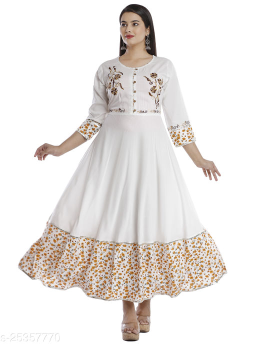 RAYON ATTRACTIVE WHITE PROSIN PRINT LONG GOWN